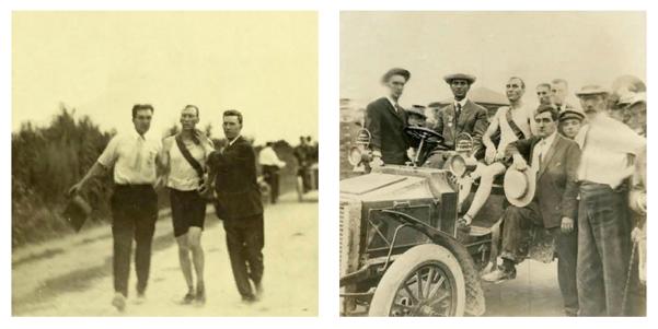 Томас Хикс (посередине) во время марафона